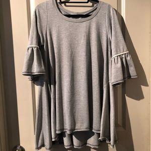 Easel Ladies Gray Ruffle Sleeves Tunic